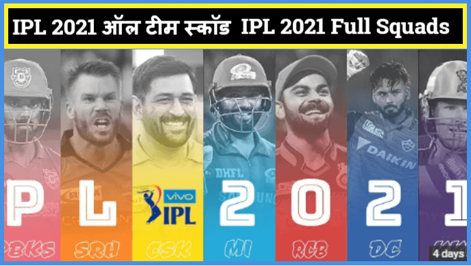 IPL 2021 ऑल टीम स्कॉड | IPL 2021 Full Squads, Team List , Auction In Hindi